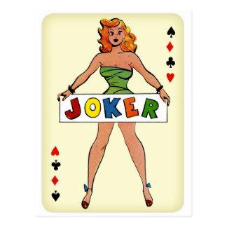 Retro Vintage Kitsch Pin Up Joker Playing Card Postcard