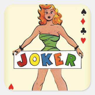 Retro Vintage Kitsch Pin Up Joker Playing Card Square Sticker