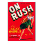 Retro Vintage Kitsch Pin Up On Rush Fruit Crate Card