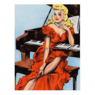 Retro Vintage Kitsch Pin Up Pianist Piano Girl Postcard