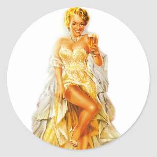 Retro Vintage Kitsch Pin Up Pinup Beer Love Girl Classic Round Sticker