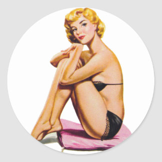 Retro Vintage Kitsch Pin Up Pinup Girl Diamonds Classic Round Sticker