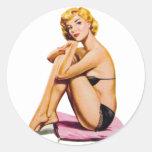 Retro Vintage Kitsch Pin Up Pinup Girl Diamonds Sticker