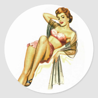Retro Vintage Kitsch Pin Up Pinup Girl Loose Shoe Classic Round Sticker