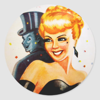 Retro Vintage Kitsch Pin Up Pinup Showgirl Classic Round Sticker