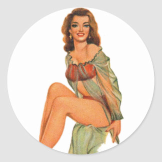 Retro Vintage Kitsch Pin Up Pinup Showgirl Gams Classic Round Sticker