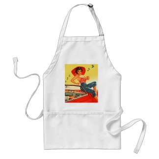 Retro Vintage Kitsch Pin Up Rock N Roll Radio Girl Adult Apron