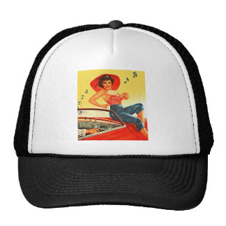 Retro Vintage Kitsch Pin Up Rock N Roll Radio Girl Trucker Hats