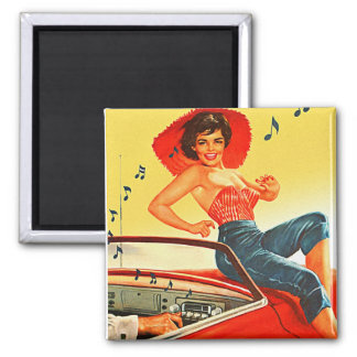 Retro Vintage Kitsch Pin Up Rock N Roll Radio Girl 2 Inch Square Magnet