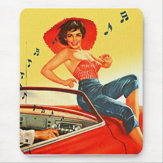 Retro Vintage Kitsch Pin Up Rock N Roll Radio Girl Mouse Pad