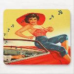 Retro Vintage Kitsch Pin Up Rock N Roll Radio Girl Mousepads