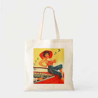 Retro Vintage Kitsch Pin Up Rock N Roll Radio Girl Tote Bag