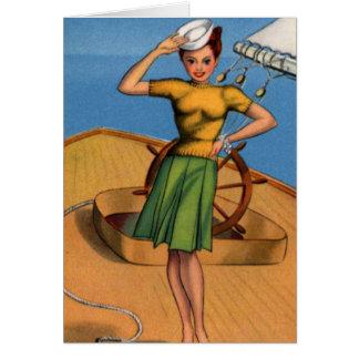 Retro Vintage Kitsch Pin Up Salior Girl Art Card