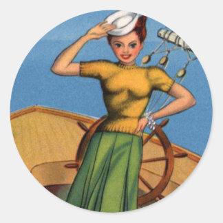 Retro Vintage Kitsch Pin Up Salior Girl Art Classic Round Sticker