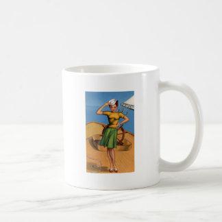 Retro Vintage Kitsch Pin Up Salior Girl Art Coffee Mug