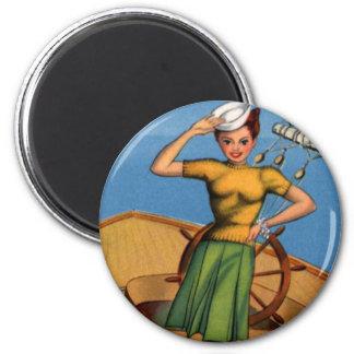 Retro Vintage Kitsch Pin Up Salior Girl Art Magnet