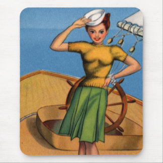 Retro Vintage Kitsch Pin Up Salior Girl Art Mouse Pad
