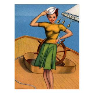 Retro Vintage Kitsch Pin Up Salior Girl Art Postcard