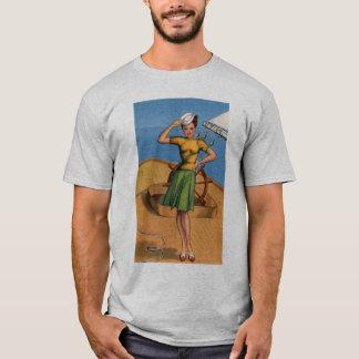 Retro Vintage Kitsch Pin Up Salior Girl Art T-Shirt