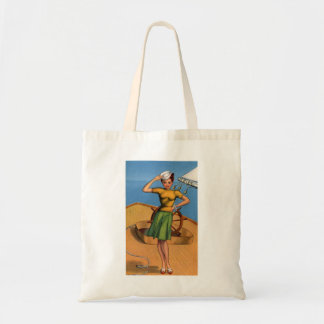 Retro Vintage Kitsch Pin Up Salior Girl Art Tote Bag