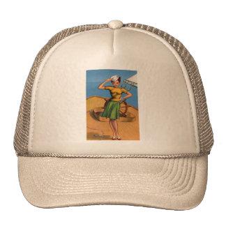Retro Vintage Kitsch Pin Up Salior Girl Art Trucker Hat