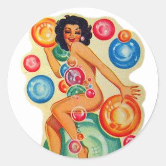 Retro Vintage Kitsch Pin Up Showgirl Bubbles Classic Round Sticker