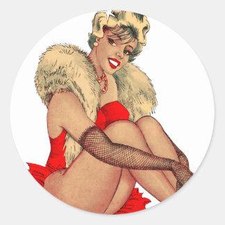 Retro Vintage Kitsch Pin Up Showgirl Classic Round Sticker