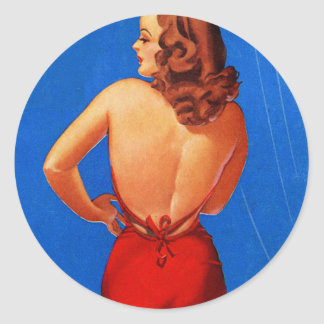 Retro Vintage Kitsch Pin Up Showgirl Rear View Classic Round Sticker