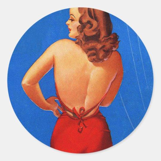 Retro Vintage Kitsch Pin Up Showgirl Rear View Classic Round Sticker