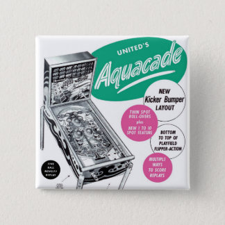 Retro Vintage Kitsch Pinball Aquacade Sales Ad Pinback Button