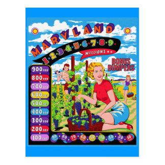 Retro Vintage Kitsch Pinball Back Glass Art Postcard