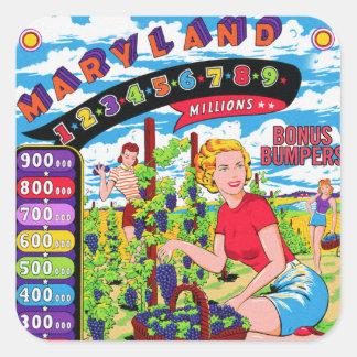 Retro Vintage Kitsch Pinball Back Glass Art Square Sticker