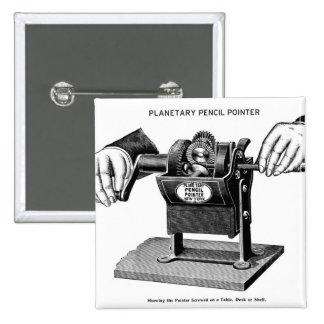 Retro Vintage Kitsch Planetary Pencil Pointer 2 Inch Square Button