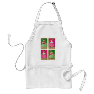 Retro Vintage Kitsch Playing Cards Ballerinas Adult Apron