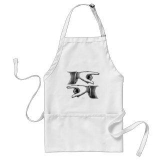 Retro Vintage Kitsch Pointing Hands Engraving Adult Apron