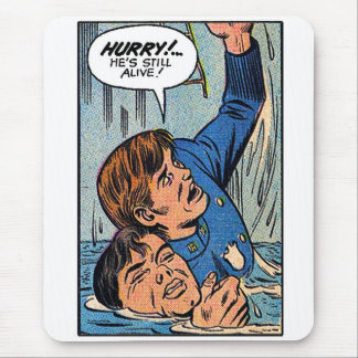 Retro Vintage Kitsch Police Comic Book Art Mouse Pad
