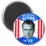 Retro Vintage Kitsch Politics Re-Elect Nixon in 72 2 Inch Round Magnet