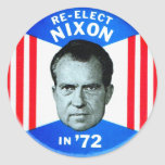 Retro Vintage Kitsch Politics Re-Elect Nixon in 72 Classic Round Sticker