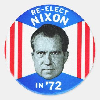 Retro Vintage Kitsch Politics Re-Elect Nixon in 72 Classic Round Sticker