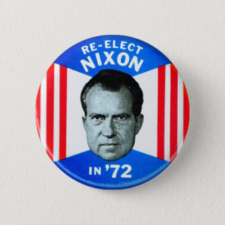 Retro Vintage Kitsch Politics Re-Elect Nixon in 72 Pinback Button