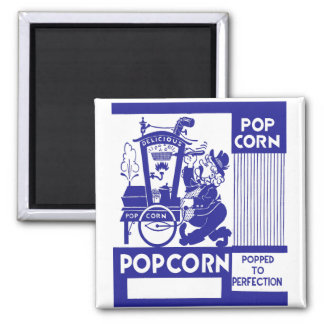 Retro Vintage Kitsch Popcorn Box Popped Perfection Magnet