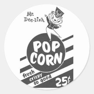 Retro Vintage Kitsch Popcorn Mr. Dee-lish Classic Round Sticker