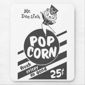 Retro Vintage Kitsch Popcorn Mr. Dee-lish Mouse Pad
