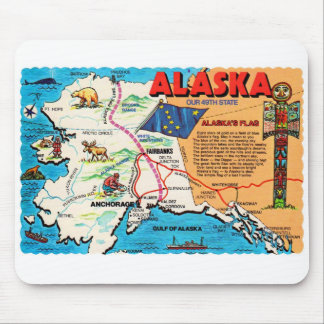 Retro Vintage Kitsch Postcard Alaska 49th State Mouse Pads