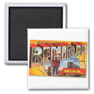 Retro Vintage Kitsch Postcard Bemidji Paul Bunyan 2 Inch Square Magnet