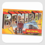 Retro Vintage Kitsch Postcard Bemidji Paul Bunyan Square Sticker