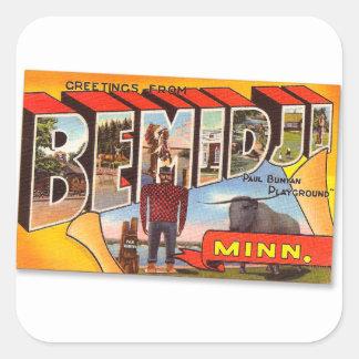 Retro Vintage Kitsch Postcard Bemidji Paul Bunyan Stickers