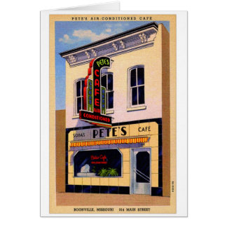 Retro Vintage Kitsch Postcard Pete's Cafe Boon, MO Greeting Card