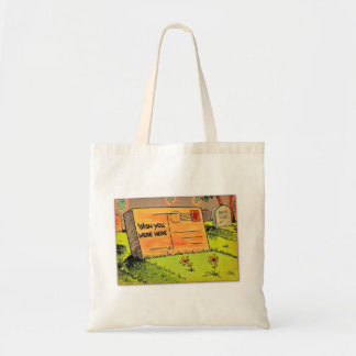 Retro Vintage Kitsch Postcard Wish You Were Here Bags