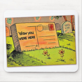 Retro Vintage Kitsch Postcard Wish You Were Here Mouse Pad